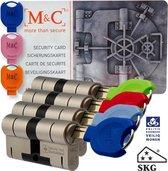 M&C 32/32 set van 4 anti-kerntrek cilinders skg*** gelijksluitend incl. 7 color sleutels.