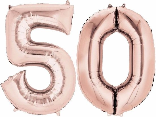 Folie ballon cijfer 50 rose goud