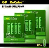 GP AAA oplaadbare batterijen - 1000 mAh - 12 stuks