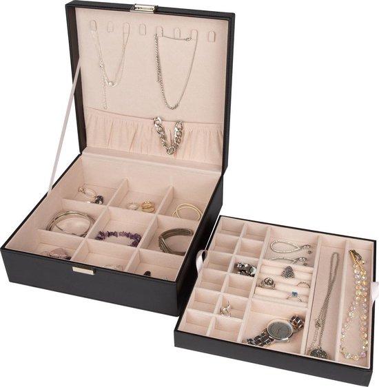 LifeGoods Sieraden Doos - Luxe Bijouterie Kistje - Juwelen Box met Houder - 24 Vakken – Ketting / Ring / Oorbellen / Horloge - Dames / Meisjes – Zwart