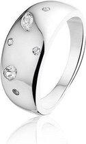 Montebello Ring Jana - Dames - 925 Zilver gerhodineerd - Zirkonia - Maat 58 - 18.5 mm