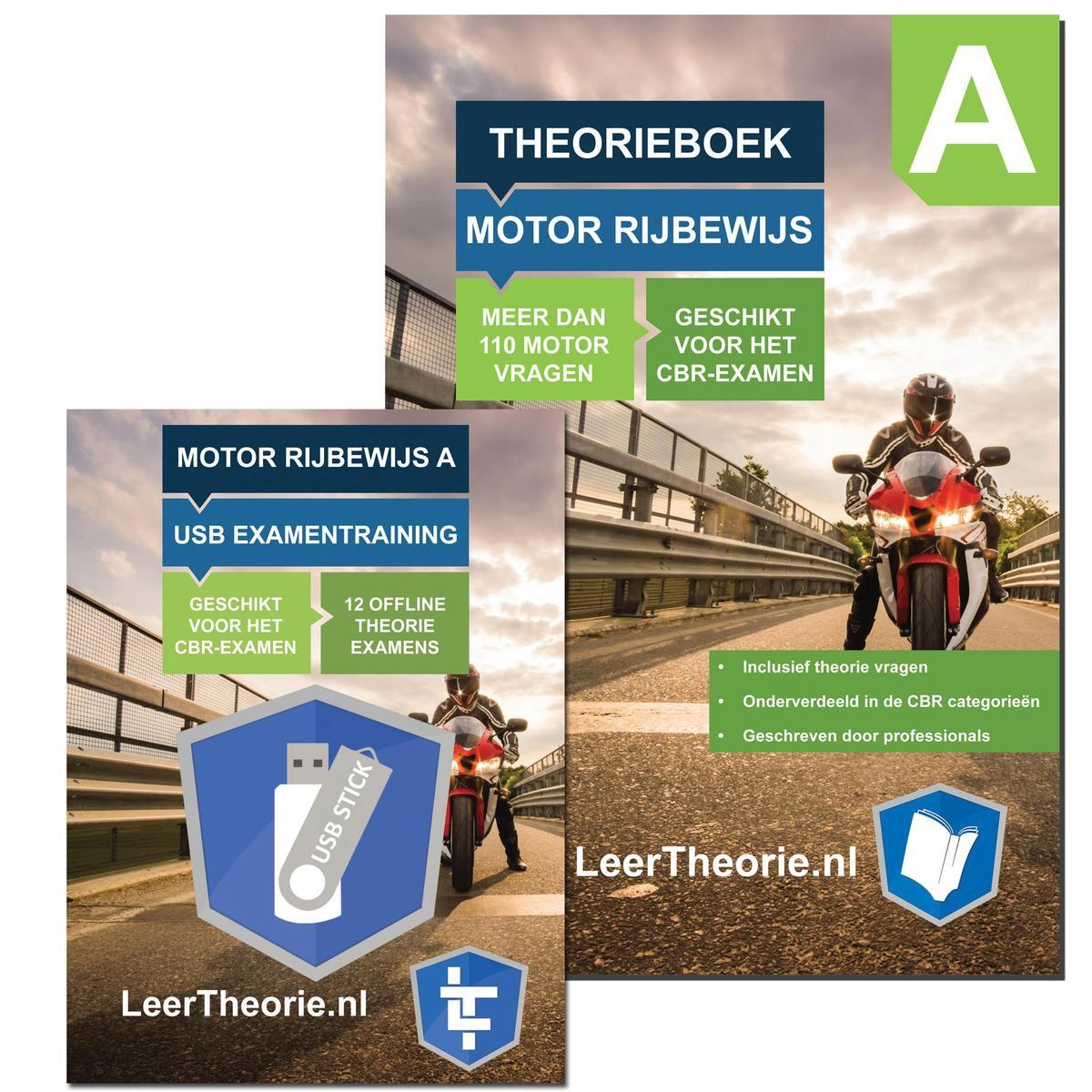 MotorTheorieboek 2021 - Rijbewijs A + USB Examentrainer - MotorTheorie Boek Leren