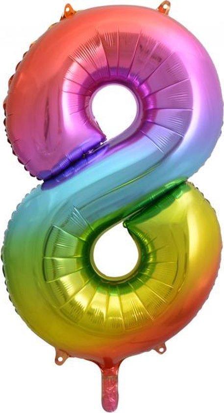 Folie ballon cijfer 8 is 86 cm groot regenboog kleuren