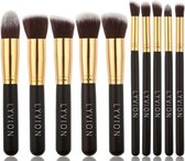 Make-up kwasten Geschenkset 10-delig Synthetisch haar - Zwart en Goud