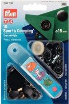 Prym drukknopen 10 stuks sport & camping  15 mm zwart 390 200