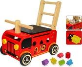 Houten loopwagen brandweer met blokken - I'm Toy