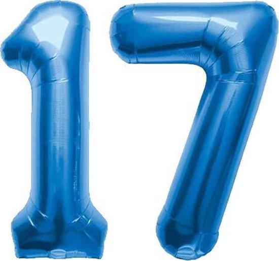 Cijfer 17 Blauw Helium 86 cm Excl. Helium