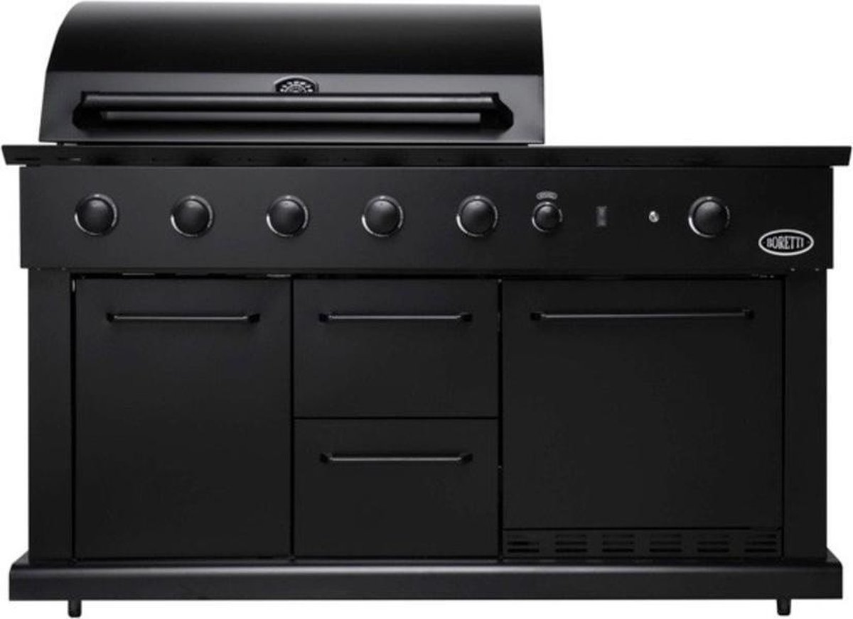 Luciano buitenkeuken zwart met koelkast Boretti
