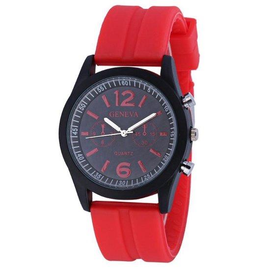 Fako® – Horloge – Geneva Sporty – Rood