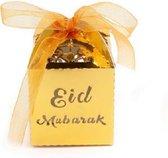 EID Mubarak - Ramadan - Snoepdoos - 10 Stuks - Suikerfeest Versiering - Offerfeest - Cadeaudoosje - Decoratie - Papier - Goud