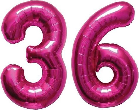 Cijfer 36 Magenta Helium 86 cm Excl. helium