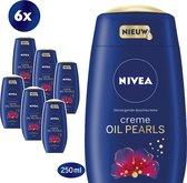 NIVEA Crème Oil Pearls Kersenbloesem - 6 x 250 ml - Voordeelverpakking - Douchecrème