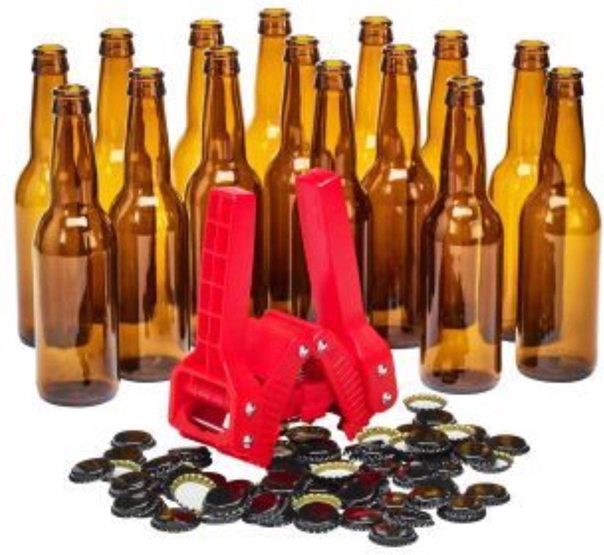 Brew Monkey Bottelset met 15 flessen, kroonkurkapparaat en 30 kroonkurken - Zelf bier bottelen - Bie