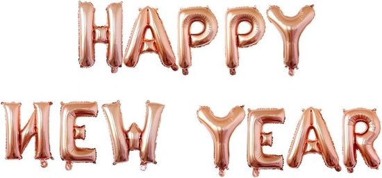Happy New Year folieballonnen rosegoud 40cm - 2020 Nieuwjaar