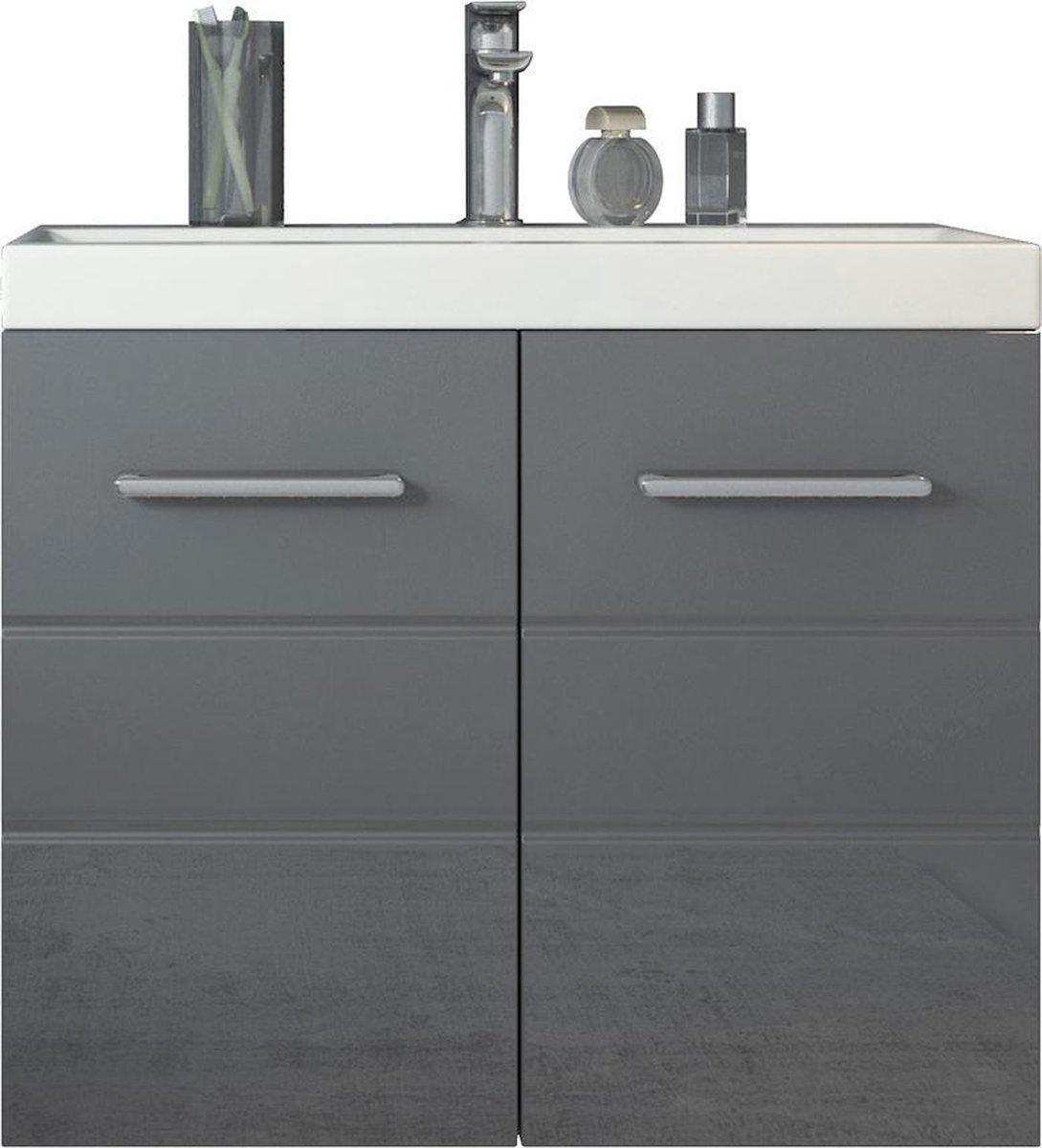 Badplaats - Badkamermeubel Toledo 01 60cm - Wit met hoogglans grijs - Kast met wastafel