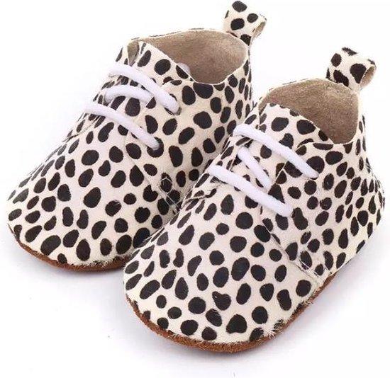 Leren Babyschoenen met Veters en leuke Dalmatiërprint 0-6 maanden