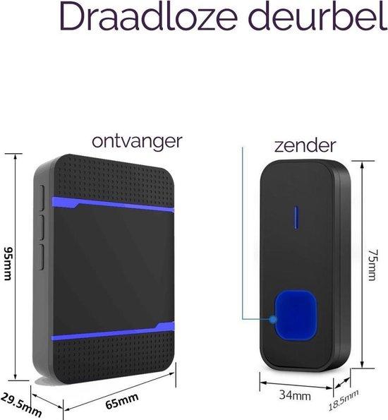 Draadloze deurbel - 1 Zender & 1 Ontvanger - Groot bereik van 300m - Waterdicht - Zwart - Knaldeals.com