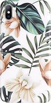 Luxe Bloemen Back cover voor Apple iPhone XR - Wit - Groen - TPU