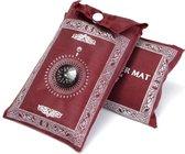 Opvouwbare gebedskleed met kompas – Waterbestendig – Gebedskleed in 1 kleur - Ideaal Eid Mubarak cadeau - Handig om buiten en binnen te bidden - Geschikt voor kinderen en volwassenen – Islam - Ramadan - Rood