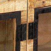 vidaXL Dressoir 160x30x80 cm massief ruw mangohout bruin en zwart