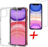 iPhone 11 Hoesje en Screenprotector iPhone 11 - iPhone 11 Hoesje Transparant Shock Proof Case + Screen Protector