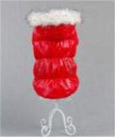 Jas gevoerd met bontkraag in de kleur rood