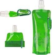 Waterfles - Waterzak - Opvouwbaar - Oprolbaar - Drinkfles - Sportdop - BPA vrij - 480ml - Groen