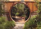 Tuindoek doorkijk door schutting bos- 130x95 cm - tuinposter - tuin decoratie - tuinposters buiten - tuinschilderij