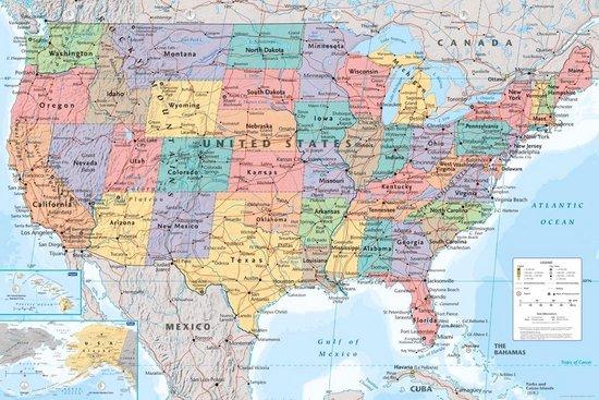 Verenigde Staten van Amerika kaart poster - USA -61x91.5cm