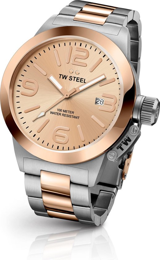 TW Steel CB404 Canteen Bracelet Collection – Horloge – Staal – 40 mm – Rosékleurig
