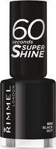 Rimmel - 60 seconds supershine nailpolish - Black Out - Black