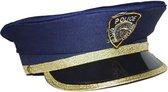 Kinder politiepet blauw met goud