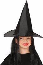 Halloween - Zwarte heksenhoed met haar voor meisjes