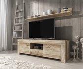 Meubella - TV-Meubel Sonia + wandplank - Grijs eiken - 155 cm