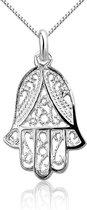 Montebello Ketting Fatima - Dames - 925 Zilver - Symbool - 14 x 25 mm - 45 cm