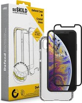 SoSkild iPhone Xs Max Defend Heavy Impact Case and Tempered Glass Transparant
