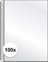 100x Showtassen/insteekhoezen transparant A4 23 gaats/rings - Kantoor opberg artikelen