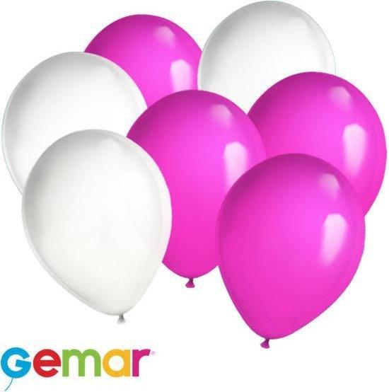 30x Ballonnen Wit en Roze (Ook geschikt voor Helium)