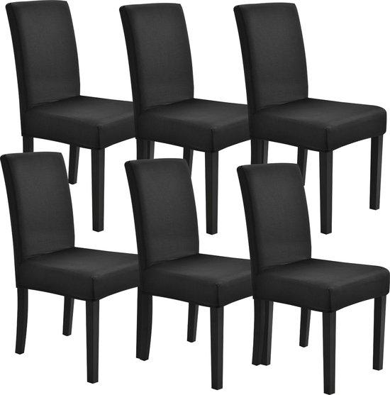 Stoelhoes set van 6 hoes voor stoelen stretch zwart