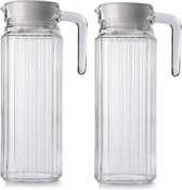 2x Glazen koelkast schenkkannen met afsluitbare dop 1,1 L - Glazen sapkan/limonade kannen