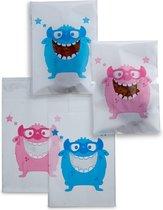 100 x Transparante Uitdeelzakjes voor kindertraktatie op school - blauw en roze Cookie Monster patroon uitdeel zakjes - 9,5 x 13 cm