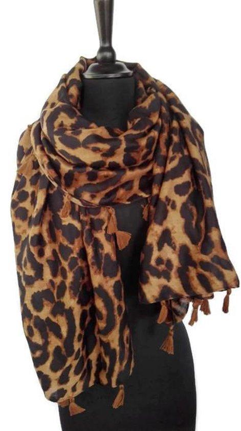 Lange warme luipaard panter leopard print dames sjaal bruin zwart herfst winter - 90 x 180 cm - ComfyCasa Shawls