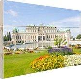 Belvedere Paleis met haar tuinen Hout 80x60 cm - Foto print op Hout (Wanddecoratie)