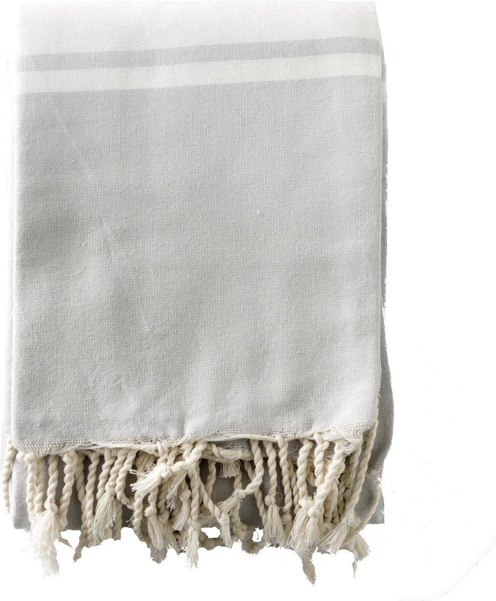 Strandkleed / Hamamdoek XXL - lichtgrijs met witte streep