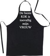 Mijncadeautje - Schort - De beste kok is toevallig mijn - VROUW - Mooie - grappige - leuke Keukenschort - Zwart