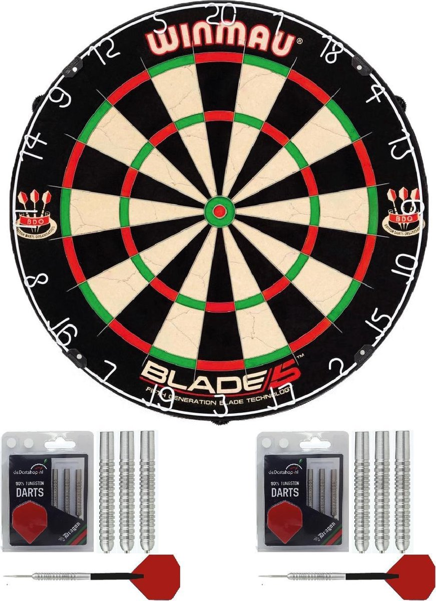 Winmau - Dart basis startersset - Winmau Blade 5 - dartbord - 2 sets Dragon - dartpijlen