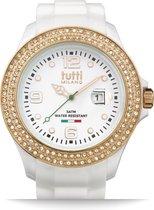 Tutti Milano TM004WH-RO-Z-Horloge -   48 mm - Wit - Collectie Cristallo