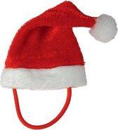 Mini Kerstmuts Met Bandje Kat - Dierenkleding - Rood/Wit