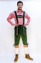 Oktoberfest - Voordelige lange Oktoberfest lederhosen donker groen voor heren - bierfeest kleding 52 (L)