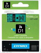 Dymo D1 - Tape Casette - 12 mm x 7 m - Zwart/Groen- 45019 (oude Versie)..